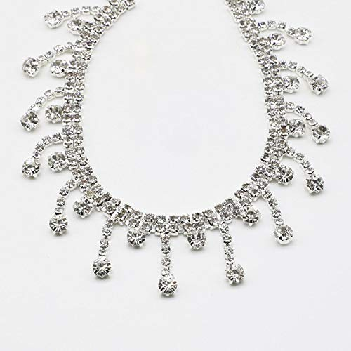 - 1 Yards Silver Fringe Trimming Clear Crystal Rhinestone Chain Trim for Handmade Bracelet Jewelry DIY Bags Clothes Shoes Dresses