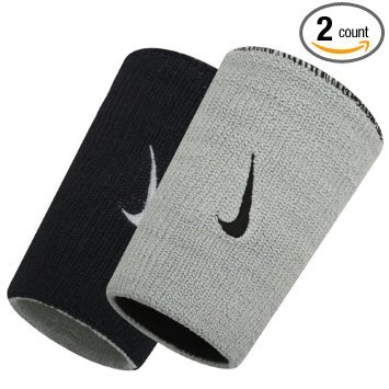 Nike Dri-Fit Home and Away Doublewide Wristbands - Black/Base Grey ()