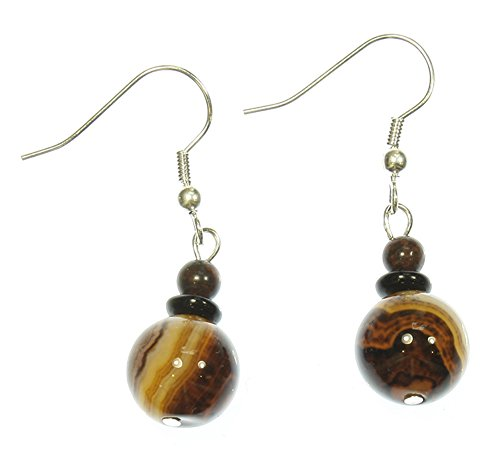 Style-ARThouse Dark Planet Exoplanet Earrings, Banded Agate (Dyed), 2 Inches Total
