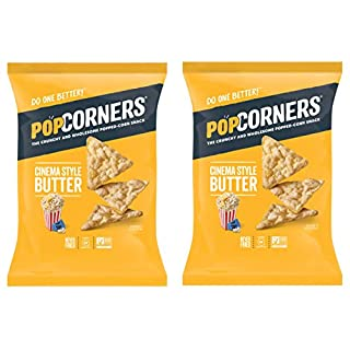 PopCorners PopCorn Snack Chips Pack of 2 5oz Bags (Cinema Style Butter PopCorners)