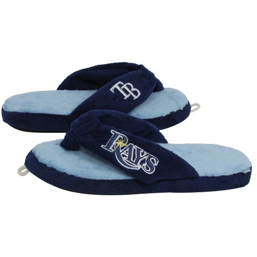 - Tampa Bay Rays Navy Blue-Light Blue Plush Unisex Thong Slippers (Large)