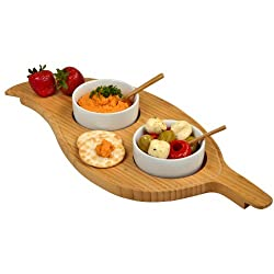Picnic at Ascot Two Bowl Leaf Serving Platter, Bamboo