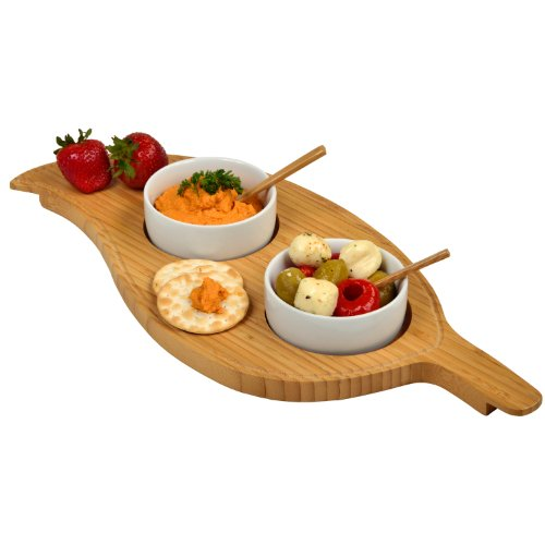 Picnic at Ascot Bamboo Leaf Shaped Serving Board with 2 Ceramic Bowls & Bamboo Spoons ()