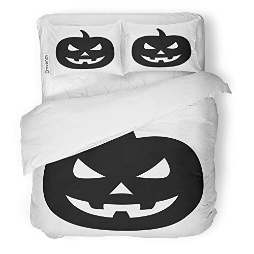 Emvency 3 Piece Duvet Cover Set Brushed Microfiber Fabric Breathable Jack O Lantern Halloween Carved Pumpkin Flat for Apps and Websites Bedding Set with 2 Pillow Covers Twin Size