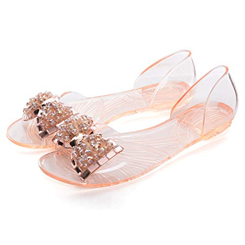 - Dear Time Summer Women Jelly Sandal Shoes Slip On Bowtie Slippers Champagne US 6