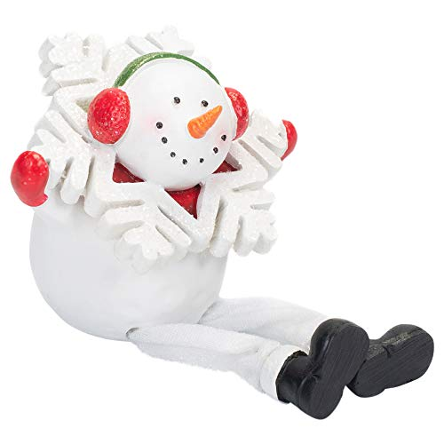 (Snowman in Glitter Snowflake 7 Inch Resin Stone Holiday Dangle Leg Shelf Sitter )
