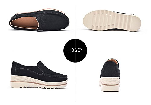 Heel Slip Top Casual Toe Mid Low Eagsouni Platform Black Moccasins Wedge On Suede Loafers Shoes Wide Women ExCOqgwf
