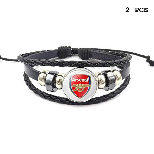 Retro Premier League Soccer Club Badge Beaded Woven Leather Bracelet Football Sport Wristband for Fans 2 Pcs (Arsenal)
