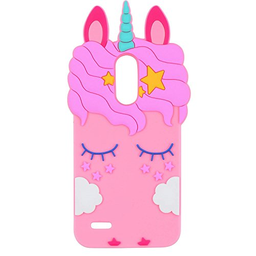 Joyleop Case for LG K20 Plus/ K20 V Cartoon Soft Silicone Cute 3D Fun Cover,Kawaii Unique Kids Girls Gift,Animal Character Rubber Shockproof Protector for LG Harmony K10 2017 V5 Grace LTE Pink Unicorn