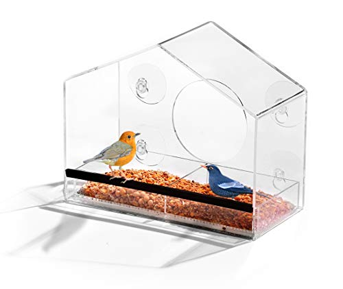 Ashman Window Home Shape Bird Feeder, Refillable Sliding Tray - Weather Proof - Snow and Squirrel Resistant - Drains Rain Water - Enjoy Songbirds from Comfort of Your ()