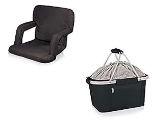 Picnic tiempo Ventura asiento y cesta de Metro, color negro, juego de 2