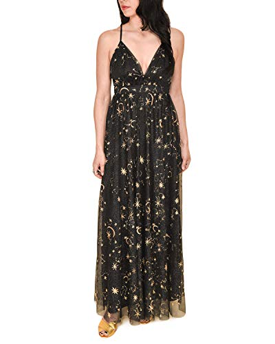 Sidecca Women's Celestial Star & Moon Embroidered Mesh Empire Waist Maxi Dress (X-Large, Black) -