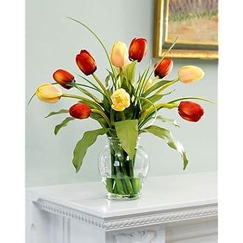 Amazon Mixed Tulip Silk Flower Arrangement Redyellow Home