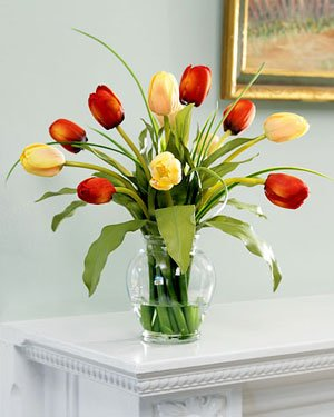 Amazon mixed tulip silk flower arrangement redyellow home mixed tulip silk flower arrangement redyellow mightylinksfo Image collections