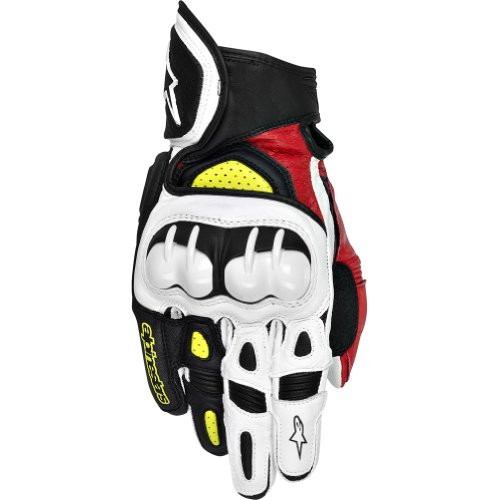 Alpinestars Gpx Leather - Alpinestars GPX Men's Leather Street Bike Motorcycle Gloves - Black/Red/Yellow / 2X-Large