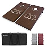 GoSports Wedding Cornhole Set | Regulation 4'x2' Size  Solid Stained Wood with Carrying Case and Bean Bags (Choose Your Colors) - Match The Wedding Theme!