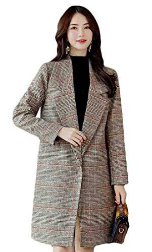(Generic Women's Houndstooth Long Sleeve Wool Trench Jacket Overcoat 1)