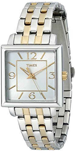 Timex Women's | Two-Tone Bracelet Square Silver-Tone Case | Dress Watch T2P376 ()