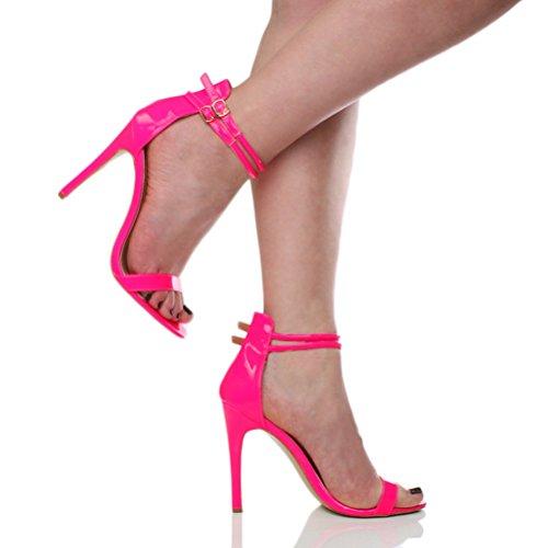 Rosa da Stiletto Sandali Donna Cinturnino Alto Tacco a Neon Doppio Fucsia zqww7xA