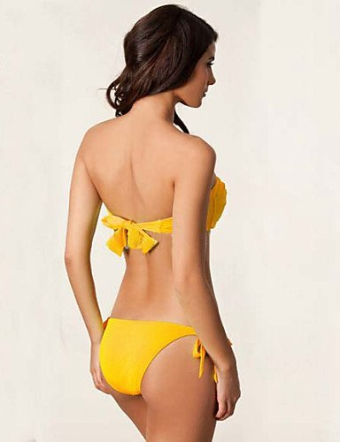 ZQ Mujer Nailon Padless sujetador Bikinis, orange-xl, medium black-l