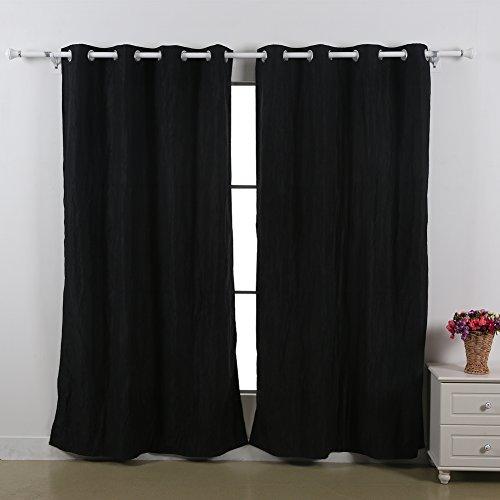 Curtains Ideas black window curtain : Amazon.com: Deconovo Faux Silk Crushed Taffeta Grommet Window ...