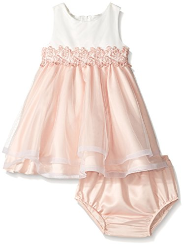 Rare Editions Baby Girls' Special Occasion Dress, Ivory/Peach, 12M - Rare Editions Baby Dresses
