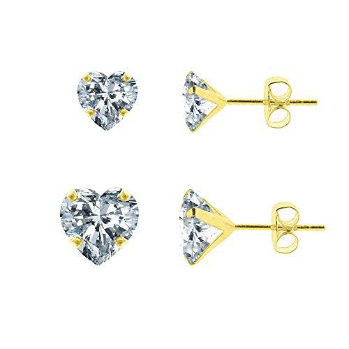 DIANE LO'REN 14kt Yellow Gold Crystal Stud Earring 6mm,4mm (Heart)
