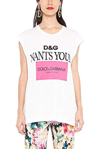 Cotton Shirt & Dress Gabbana Dolce (Dolce e Gabbana Women's F8k73zhh7lwhwk36 White Cotton T-Shirt)