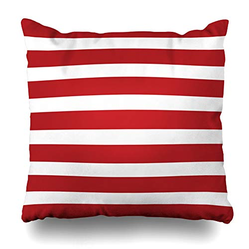Suesoso Decorative Pillows Case 18 X 18 Inch Independence Day Red White Stripes Throw Pillowcover Cushion Decorative Home Decor Garden Sofa Bed Car ()