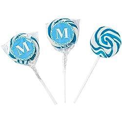 Personalized Light Blue Monogram Swirl Lollipops