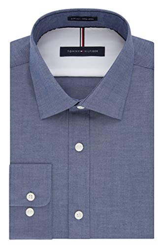 - Tommy Hilfiger Men's Dress Shirts Non Iron Slim Fit Solid Spread Collar, Night Blue, 16.5