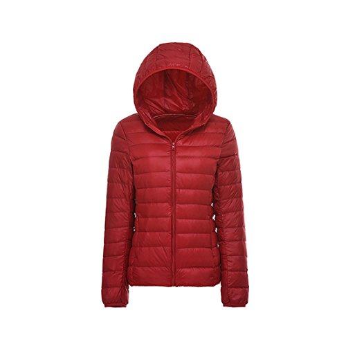 Inverno Puffer Del Riempito Cappotto Rosso Rivestimento Delle Colore Leggero Incappucciato Il Solido Donne Giù Acvip zBfwX8q