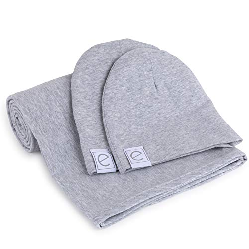 Blanket Heather (Cotton Knit Jersey Swaddle Blanket and 2 Beanie Gift Set, Large Receiving Blanket - Heather Grey)
