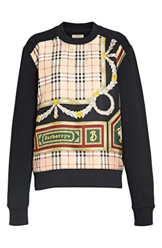 - BURBERRY Glenmore Archive Scarf Print Panel Sweatshirt in Black