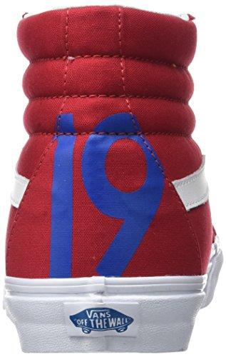 Vans Scarpe Sk8-hi Unisex Unisex, Stringate Stile High-top In Tela Resistente E Tomaia In Pelle Scamosciata, Caviglia Imbottita E Di Sostegno In Suola Con Logo Waffle Vulcanizzato Rosso / Blu