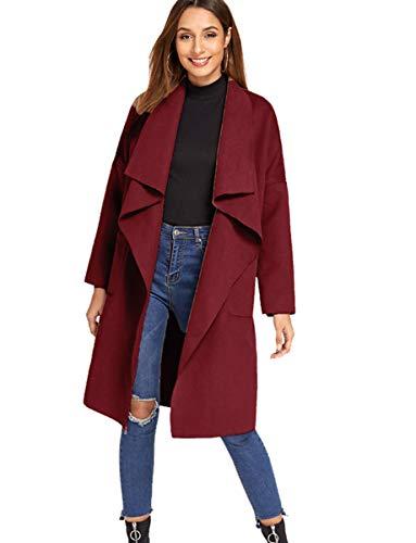 Romwe Women's Casual Long Sleeve Lapel Collar Waterfall Trench Coat Cardigan Outwear Burgundy S