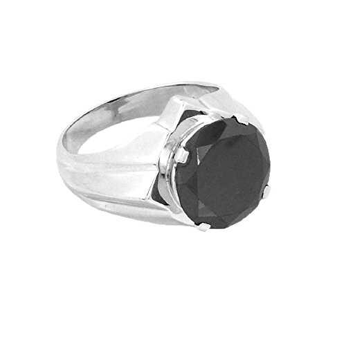 AAA Quality 2.20 Ct Round Cut Black Diamond Solitaire Silver Ring in Online Sale by Gems River