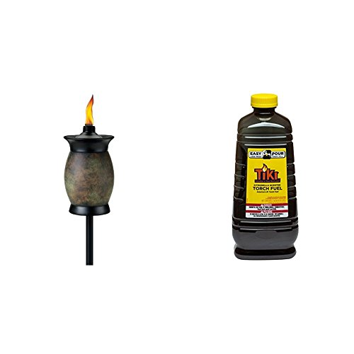 Tiki Brand 64-inch Resin Jar Torch 4-in-1 Stone Color & 64 oz. Citronella Scented Torch Fuel with Easy Pour System