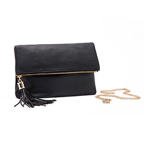 Purposefull Women's Clutch Bag with a strap - Luxury Leather Designer Handbag - High Quality Fashion Messenger Bag Black