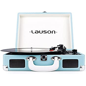 Lauson CL504 Vintage 3-Speed USB Suitcase Turntable with Speakers, Turquoise