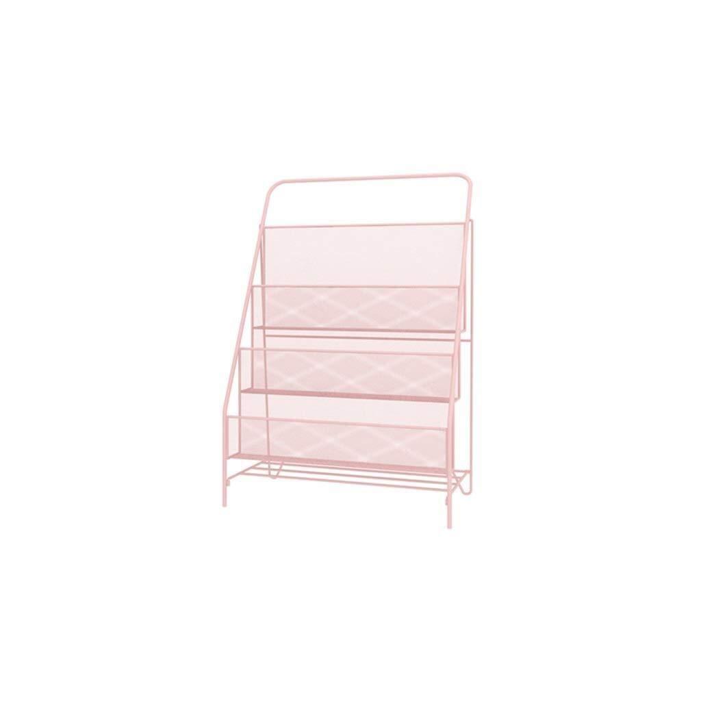 YCYG Folder, Metal mesh, Magazine Storage Box, File cla Office Floor Shelves, Brochure File Storage Rack Storage Organiser Box File Dividers Rack Display (Color : Pink, Size : L) (Color : A) by YCYG