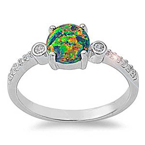 5MM Sterling Silver OCTOBER MYSTIC FIRE BLACK LAB OPAL ROUND CZ (Brilliant Black Fire Opal Ring)