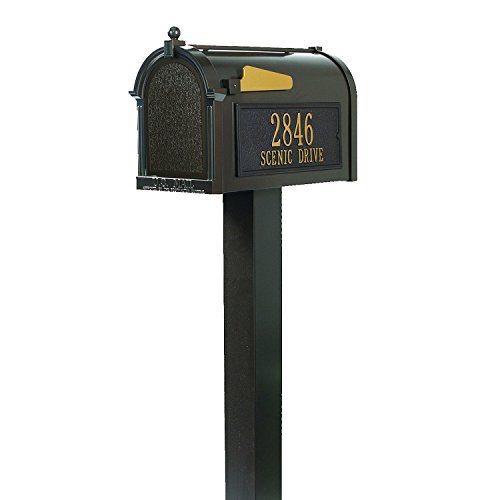 Standard Whitehall Mailbox Post - Whitehall Custom Premium Capitol Mailbox and Top Mount Post Package - French Bronze Personalized in Goldtone