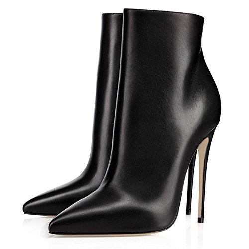 Eldof Women High Heel Boots | 12cm Pointy Toe Stilettos Ankle Boots | Womens Fashion Stiletto High Heel Ankle Boots For Party Black eWhgS
