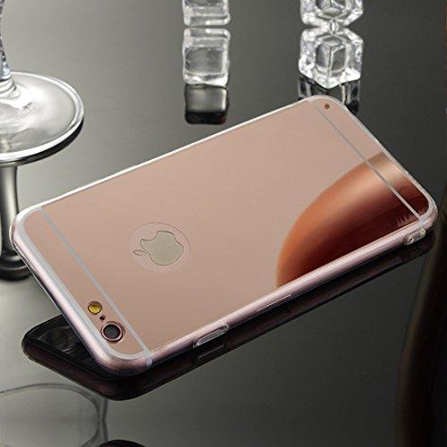 Meimeiwu TPU Spiegel Hülle Mirror Case Schutzhülle Silikon Case Schlank Handy Cover für Apple iPhone 6 6S - Rose Gold