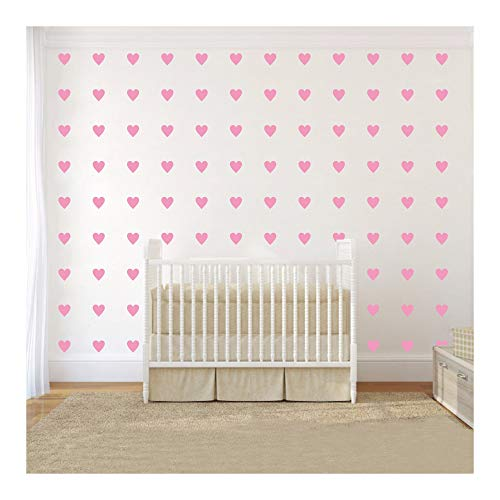 2inchx100 Pieces DIY Heart Wall Decal Vinyl Sticker for Baby Kids Children Boy Girl Bedroom Decor Removable Nursery Decoration (Soft Pink)