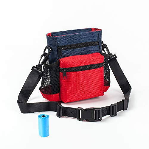 Dog Treat Bag, Dog Training Pouch for Small and Large Dogs with Adjustable Waist Belt Shoulder Strap and Poop Bag for Training Reward Walking