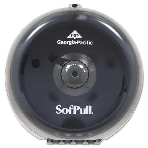 UPC 640206797719, GPC56513 - Sofpull Mini Coreless Centerpull Bath Tissue Dispenser, 8 3/4w X 7d X 9h, Smoke