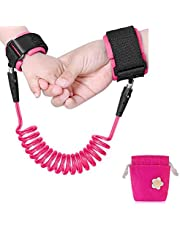 Emwel Anti Lost Wristband Safety Wrist Link Belt, 1.5M Baby Toddler Restraint Security Harness Strap Leash Walking Hand Belt Child Kids Travel Cares Safety Elastic Wire Rope (Pink)