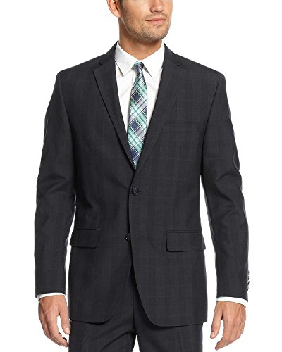 Alfani Red Slim Fit Navy Plaid 2 Button Wool Blend New Men's Blazer (36 (Plaid Wool Blend Blazer)